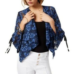 Blue & black lace draped jacket statement sleeve